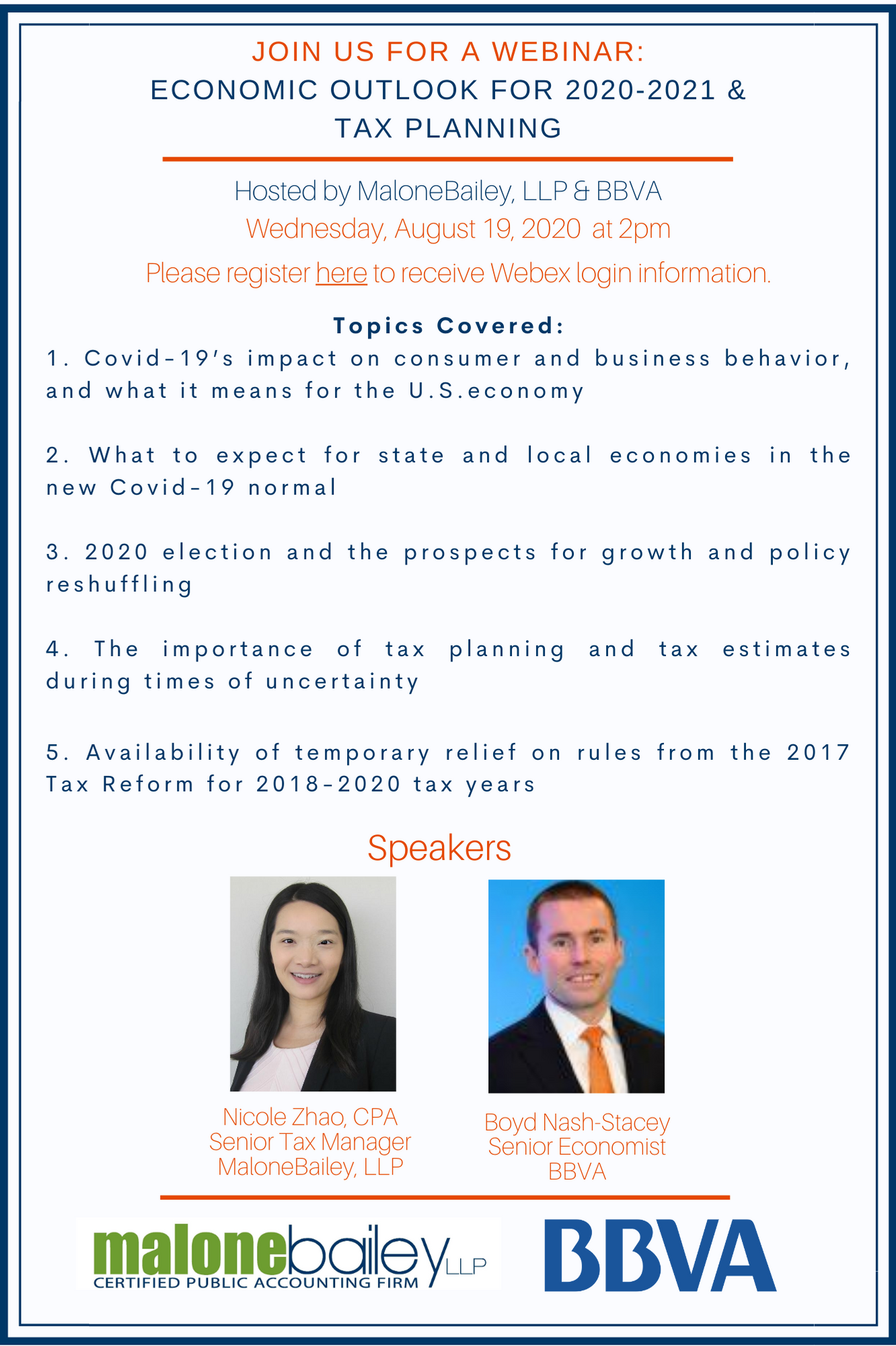 MaloneBailey & BBVA Webinar: Economic Outlook and Tax Planning