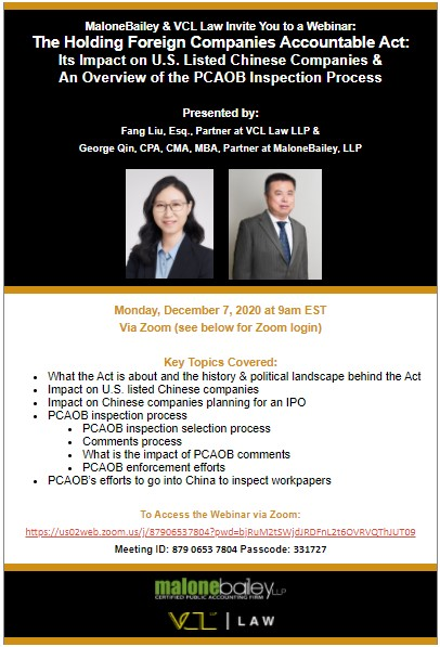Holding Foreign Companies Accountable Act Webinar